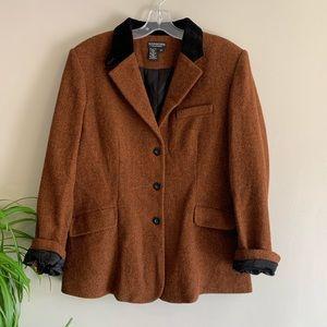 Tuxedo Inspired Orange Wool Blazer Coat 16